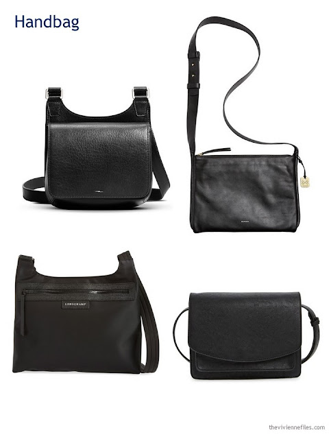 four black cross-body handbags