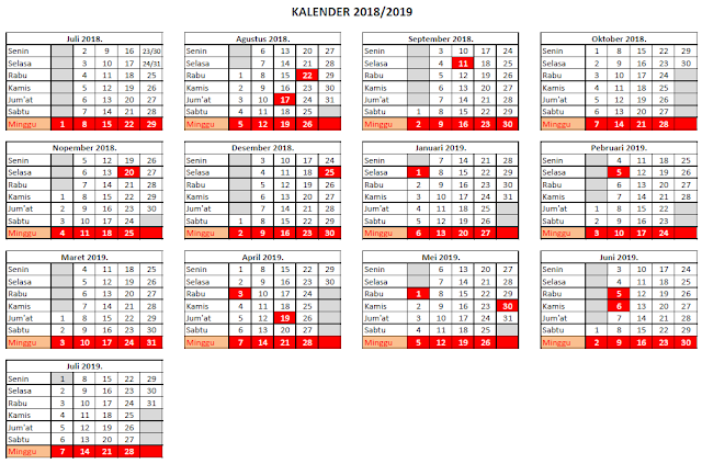 Kalender Tahun 2018/ 2019
