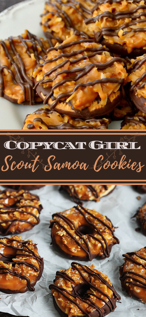 Copycat Girl Scout Samoa Cookies #desserts #cakerecipe #chocolate #fingerfood #easy