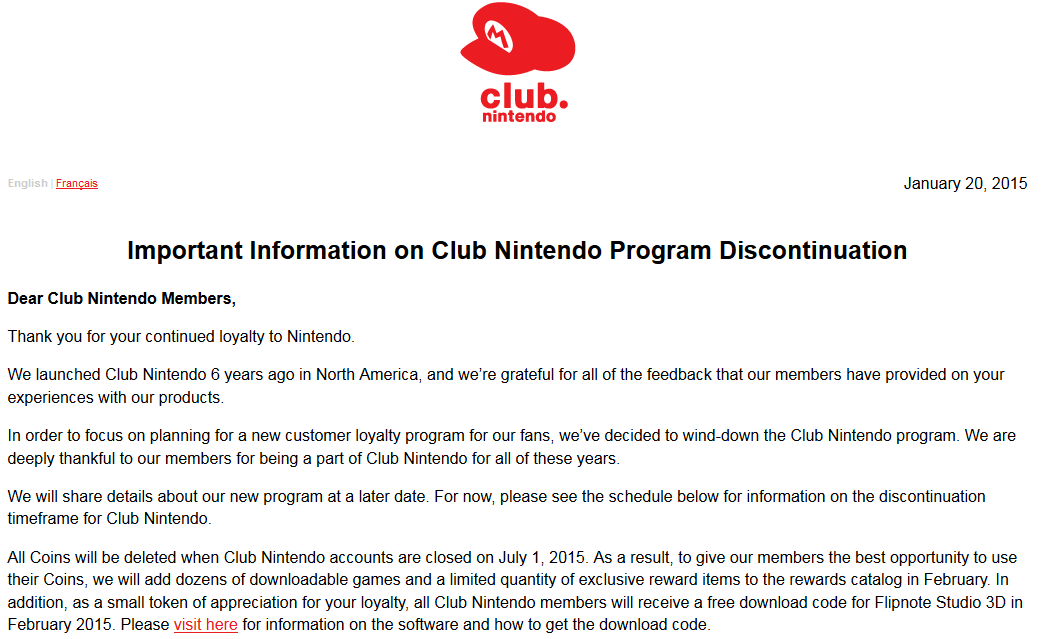 Important Information on Club Nintendo Program Discontinuation