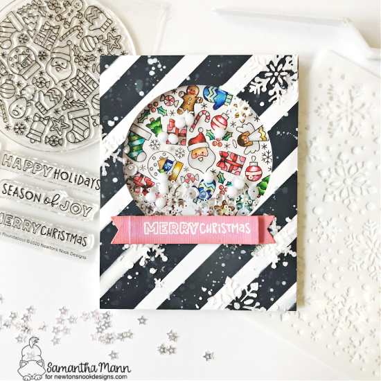 Merry & Bright Christmas Shaker card by Samantha Mann | Christmas Roundabout Stamp Set, Circle Frames Die Set, and Banner Trio Die Set by Newton's Nook Designs #newtonsnook #handmade