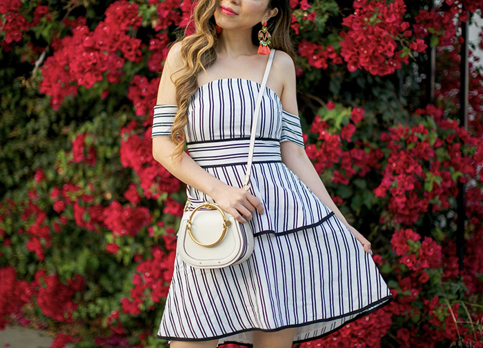 stripe off shoulder dress, endless rose stripe off shoulder high low dress, elizabeth and cole earrings, chloe nile bag, chloe carlina sunglasses, tory burch wedges, san francisco fashion blog, los angeles street style, nordstrom anniversary sale 2017