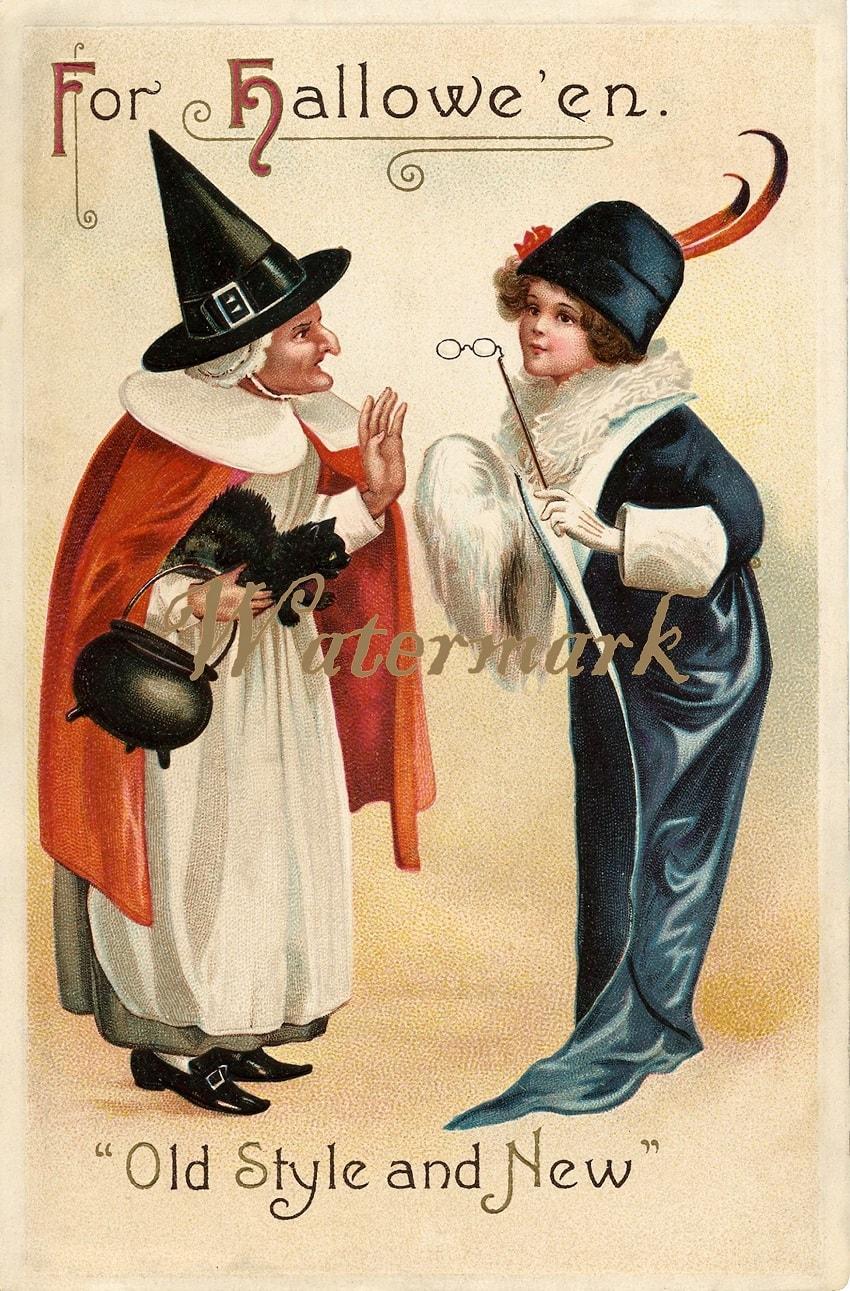 Старинные открытки в честь Хэллоуина - 09