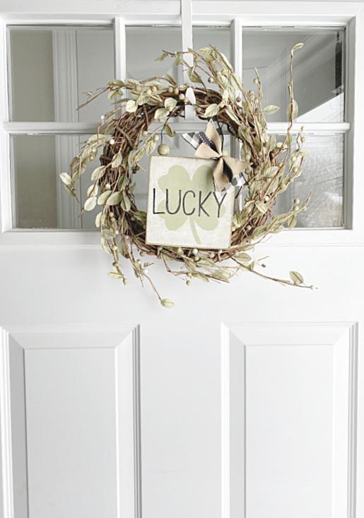 front door with hanging wreath