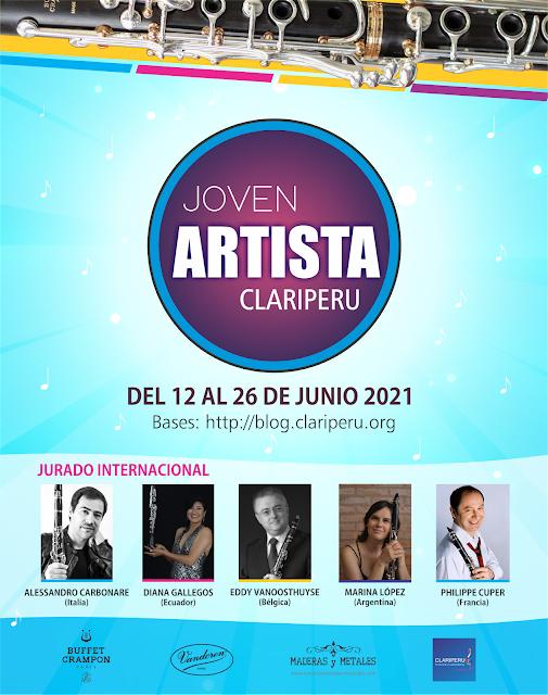 concurso Joven Artista Clariperu 2021 para toda nuestra comunidad. Clarinetistas de toda latinoamérica participan.