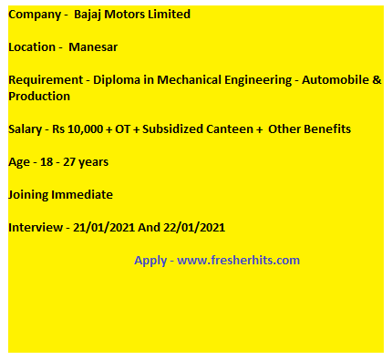 Urgent Diploma Mechanical On Roll Apprentice Opening For Freshers