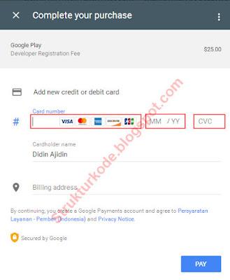 pembayaran pendaftaran google play developer