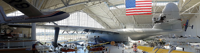 The Spruce Goose dominates the hangar.