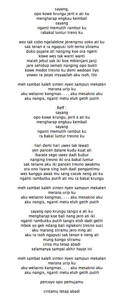 Lirik Lagu Sayang Lirik Lagu Sayang Lagu Nella Kharisma Sayang 2 Mp3 Lirik Lagu Aceh Lon Sayang Lirik Lagu Karna Su Sayang Near Ft Dian Sorowea Lirik Lagu Sayang