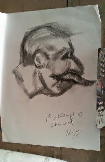 1st attempt to draw with charcoals by Gloria Poole of Atlanta, GA, yr 1995