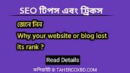 আপনার ওয়েবসাইট কেন র্যাংক হারায়  - why your website lost rank - জানুন বিস্তারিত