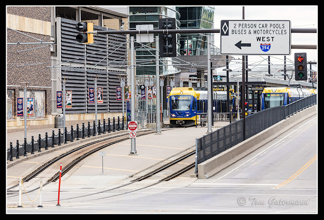 Two light rail trains at Target Field station in Minneapolis, MN