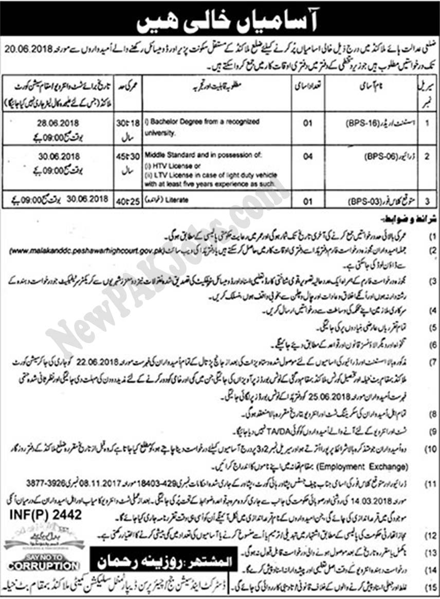 Assistant Reader Malakad Jobs 2018 under District & Session Court 2018