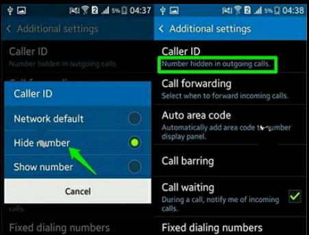 additional settings» Caller ID» Hide