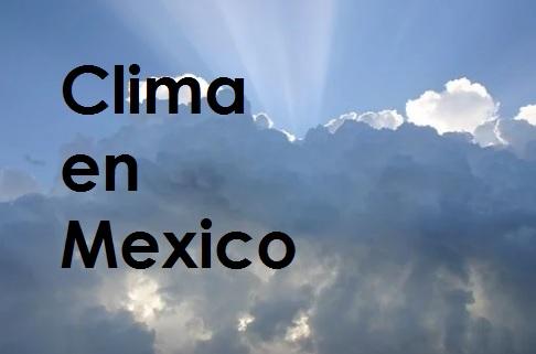 Cuelo con Nubes en un Dia Soleado con Texto de Clima en Mexico