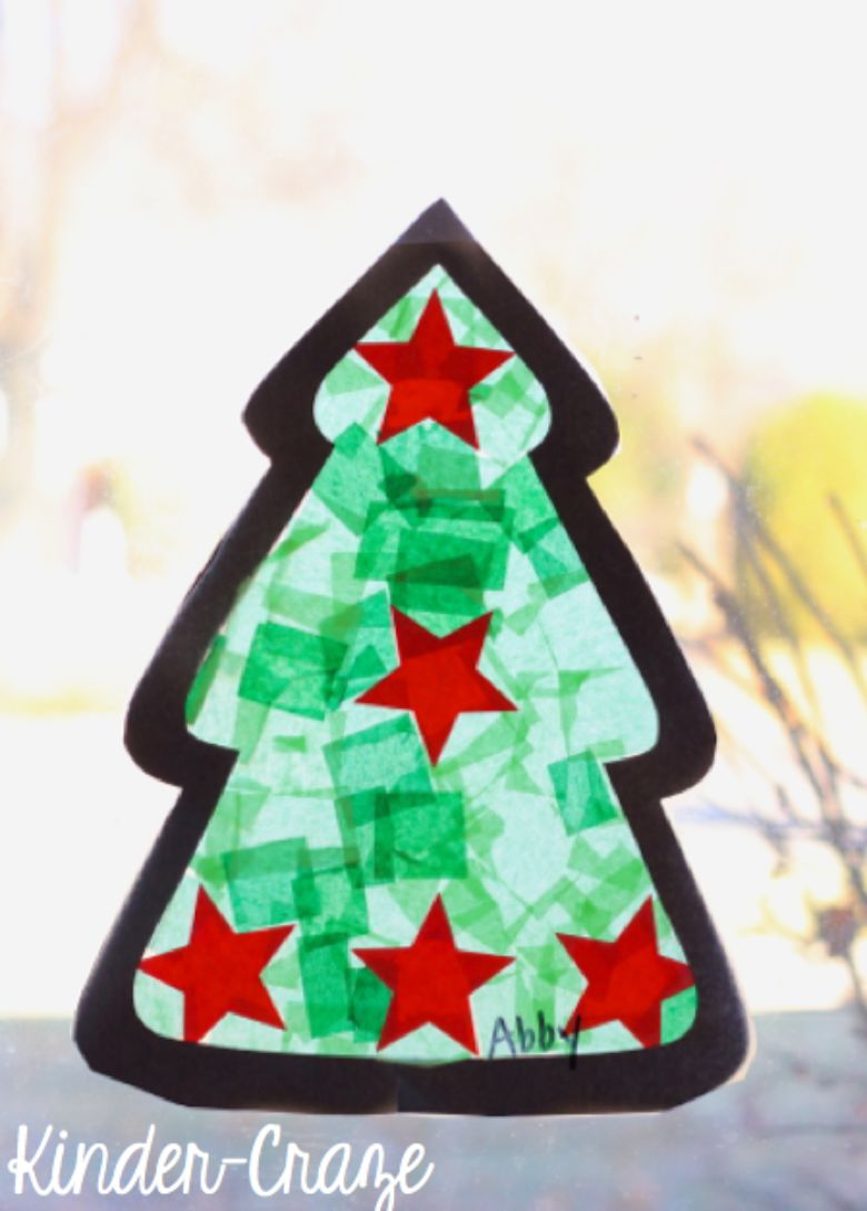 Christmas tree suncatcher craft for kids