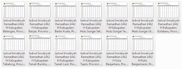 Kumpulan Jadwal Imsakiyah Ramadhan 1442 H Kabupaten/Kota se Provinsi Kalimantan Selatan