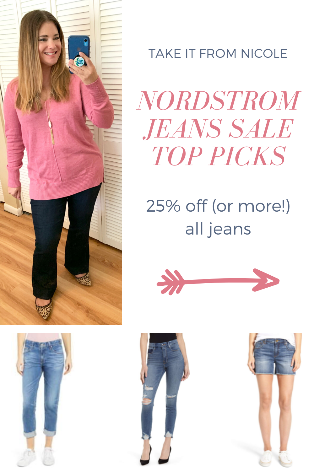 Nordstrom is having an amazing sale on denim! 25% off all jeans for women, men, and kids. I'm also seeing a lot of price matches for even bigger discounts.