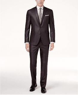 $80, Kenneth Cole Reaction Men's Ready Flex Basketweave Slim-Fit Suit