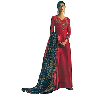 Line Suit with Zari Embroidery and Printed Dupatta