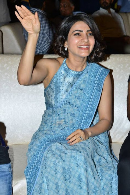 Samantha Akkineni Very Hot in Blue Saree Photo Collection Navel Queens