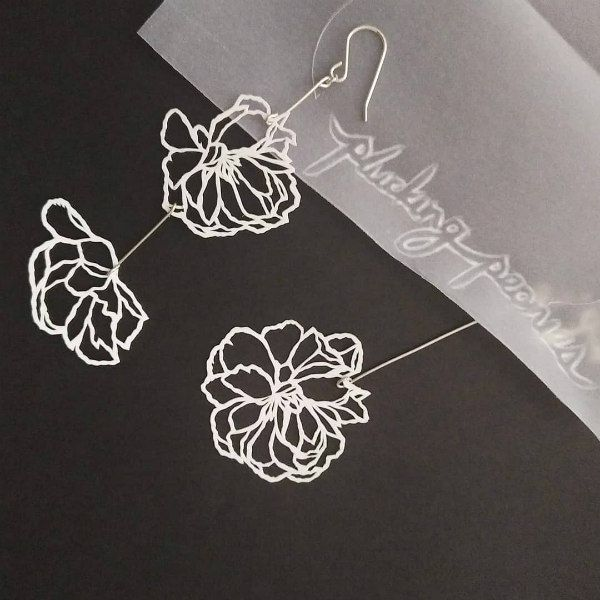 lacy floral cut paper earrings on silver wires