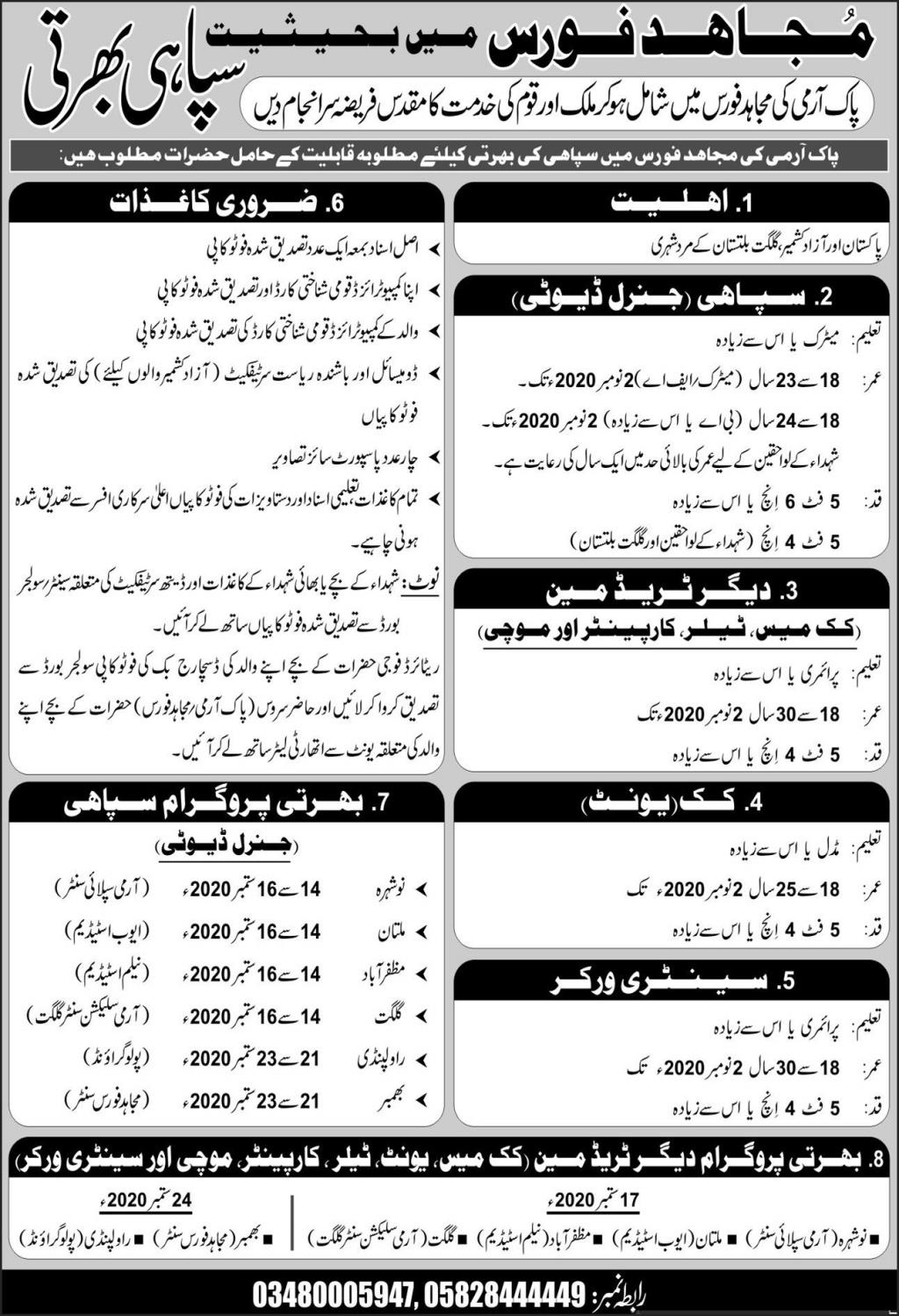 Join Pakistan Army Mujahid Force As Constables Jobs 2020
