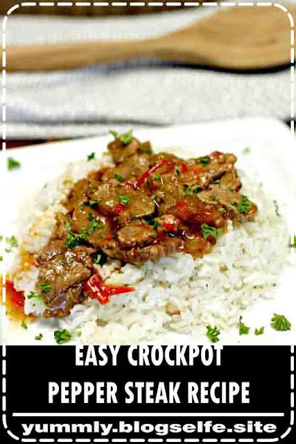 Need an easy crock pot recipe? This Crockpot Pepper Steak Recipe is delicious! Easy pepper steak recipe is simple to make. Chinese pepper steak recipe