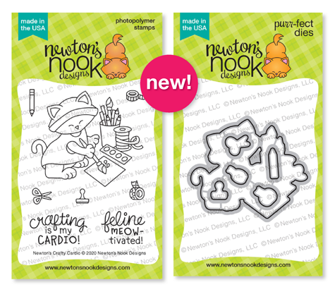 Newton's Crafty Cardio Stamp Set and coordinating Die Set by Newton's Nook Designs #newtonsnook