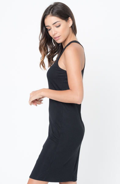 Buy Now Black Scoop Neck Ribbed Tank Dress Online -Final Sale- $20 -@caralase.com