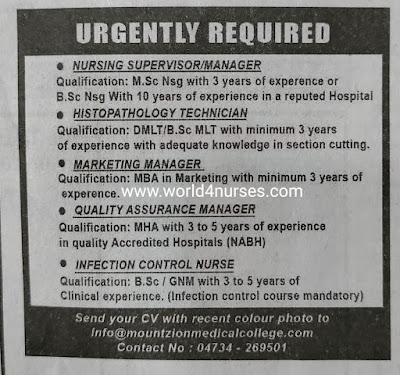 URGENTLY REQUIRED NURSES TO MOUNT ZION MEDICAL COLLEGE