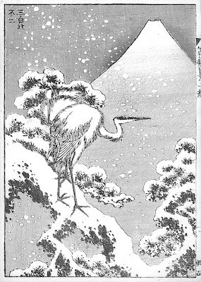 """Les trois blancheurs"" / Katsuhika Hokusai Cent vues du Mt Fuji"