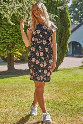 Black floral spot frill sleeve shift short sundress
