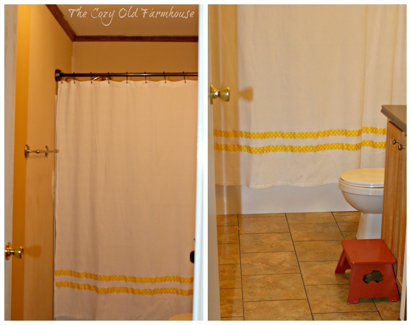 Painteru0027s Dropcloth Becomes DIY Grain Sack Shower Curtain