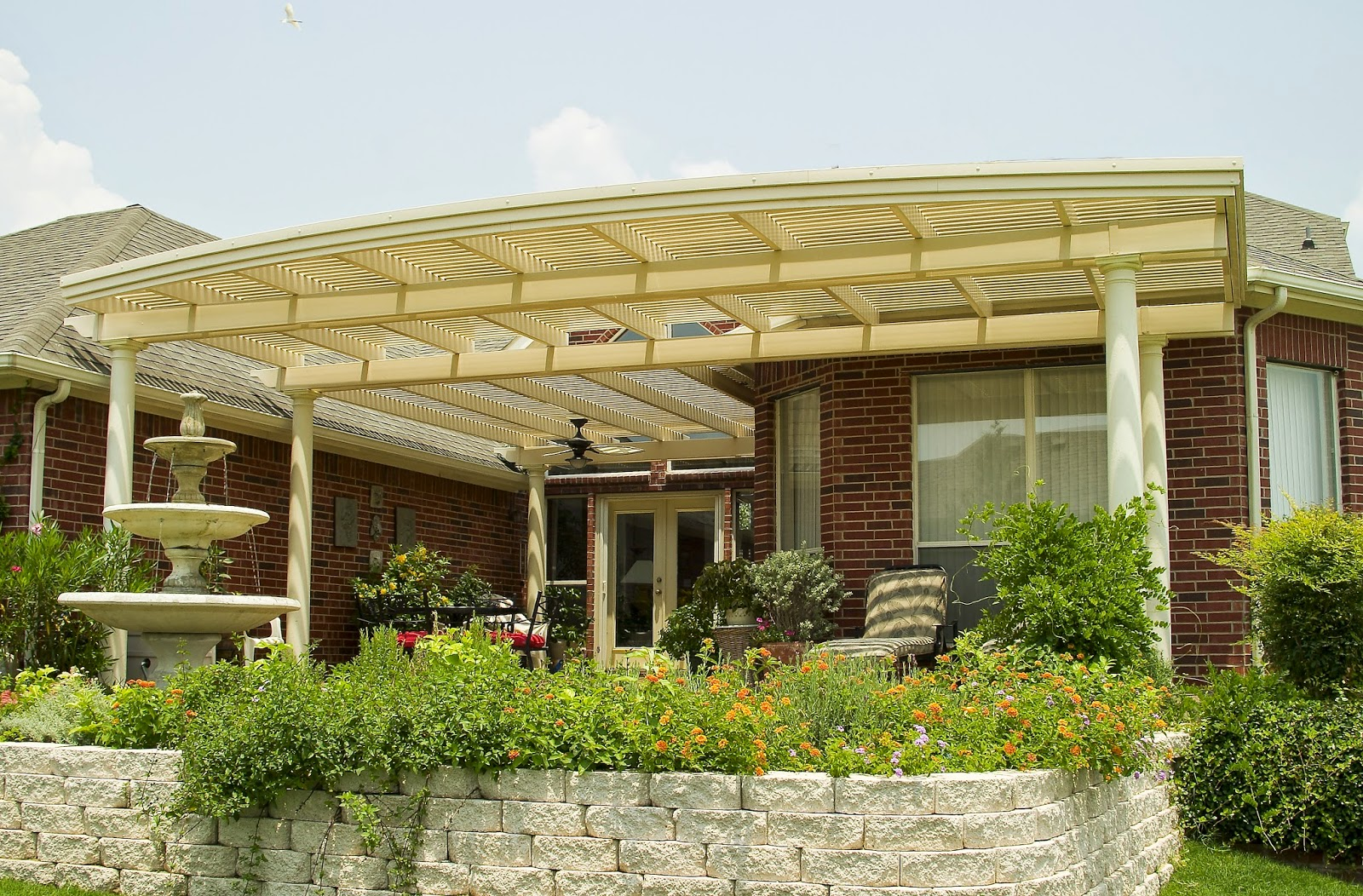 Vinyl Shade Structure with Retaining Wall