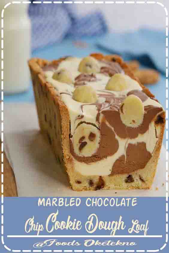 Marbled Chocolate Chip Cookie Dough Loaf #Cookie #Bowls