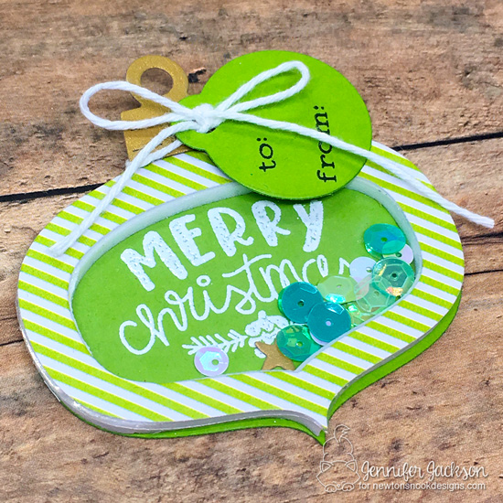 25 Days of Christmas Tags | Tags by Jennifer Jackson | Ornament Shaker Die Set, Tags Times Two Die Set and Ornamental Wishes Stamp Set by Newton's Nook Designs #newtonsnook #handmade