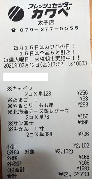 カワベ 太子店 2021/2/12 のレシート