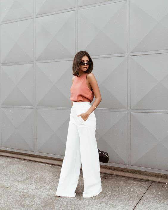 Ideias de looks com calça pantalona branca