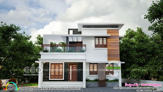 Grand flat roof style 3 bedroom house design