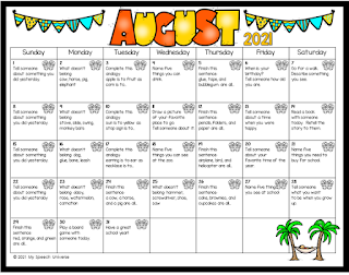 Summer language calendars target a variety of concepts for the months of June-August