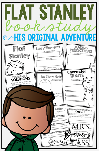 Our class LOVES Flat Stanley! Here are some fun Flat Stanley book study companion activities to go with the book by Jeff Brown. Perfect for whole class guided reading, small groups, or individual study packs. Packed with lots of fun literacy ideas and standards based guided reading activities. Common Core aligned. Grades 1-2 #bookstudies #bookstudy #novelstudy #1stgrade #2ndgrade #literacy #guidedreading #flatstanley