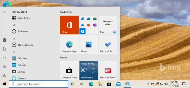 مربعات قائمة بدء الضوء الجديدة في تحديث Windows 10's 20H2.