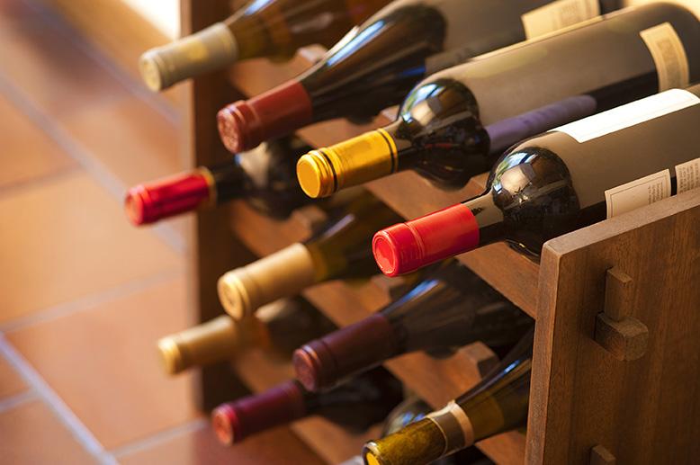 bottles of wine on a wine rack