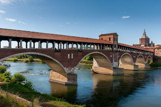 The covered bridge over the Ticino river in Pavia was rebuilt after being destroyed in the Second World War