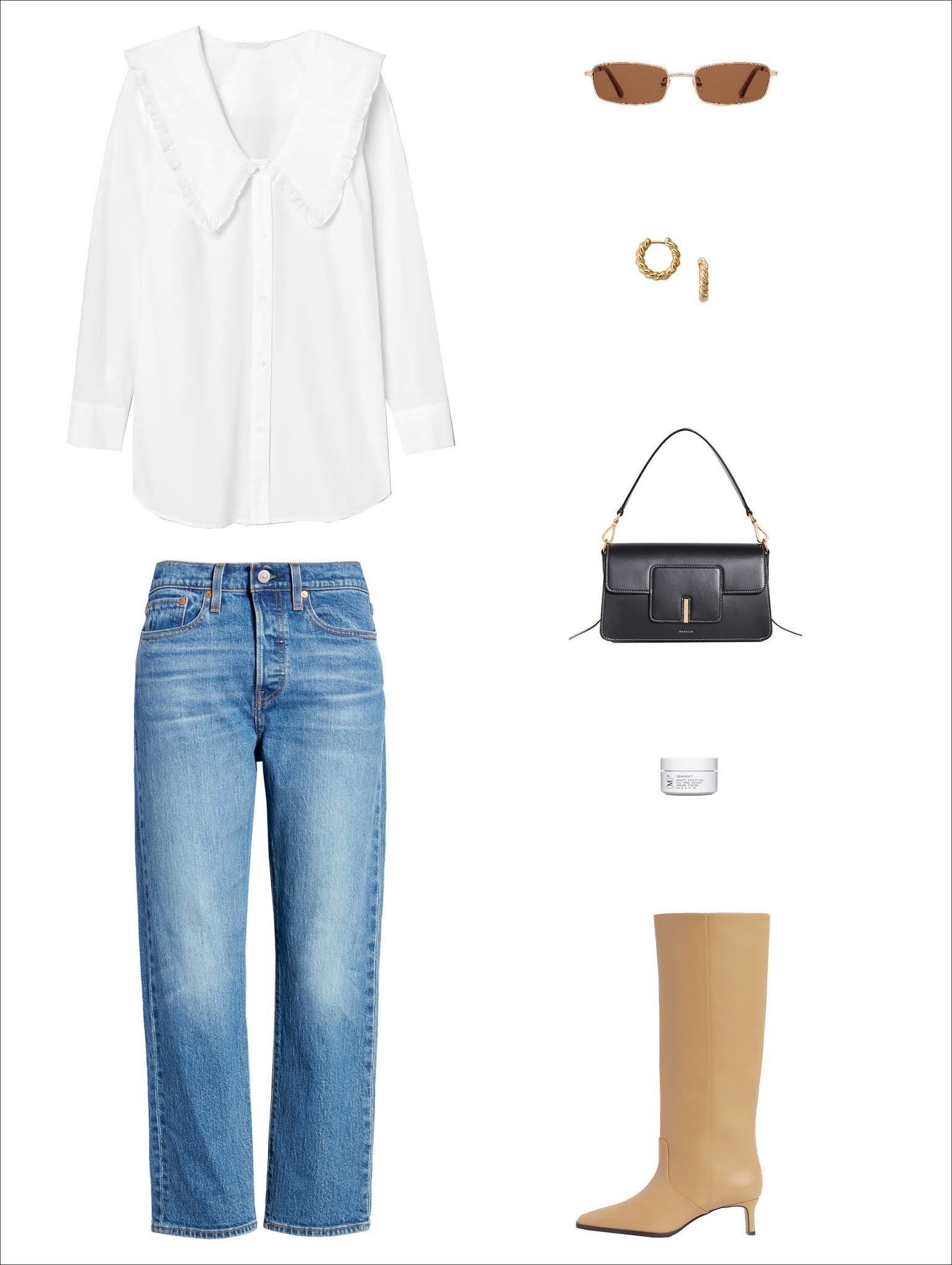 Spring Outfit Idea — Big Collar Trend 2021 — White Large Collared Shirt, Twist Hoop Earrings, Black Shoulder Bag, Straight-Leg Jeans, Beige Tall Boots