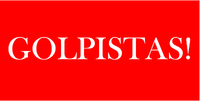 A imagem de fundo vermelho e os caracteres em branco está escrito a palavra golpistas.  Os golpistas formam a classe dominante e é a mais perigosa para as democracias de quaisquer nações. No Brasil ela é composta de pessoas procedentes da mídia grande, partidos políticos da direita e todos os grupos; representantes das elites ultradireitistas.