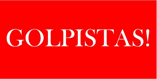 A imagem de fundo vermelho e caracteres em branco diz: golpistas.