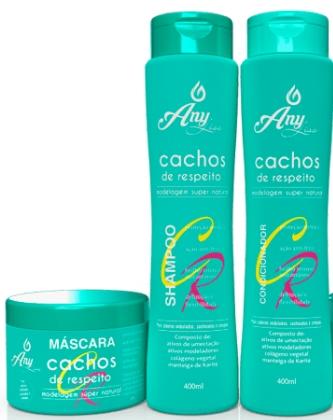 Kit com Shampoo, Condicionador e Máscara da Any Liss -  linha Cachos de Respeito