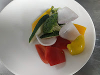 Blanched broccoli bell peppers and onions zucchini for lobster hot garlic sauce recipe